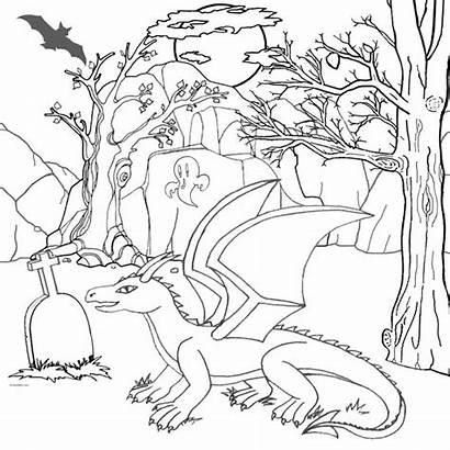 Coloring Dragon Halloween Printable Hard Drawing Magic