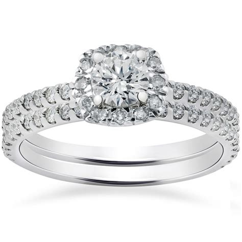 7 8ct cushion halo diamond engagement ring set 14k white