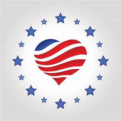 Flag Heart Stars Shape Usa American Vector