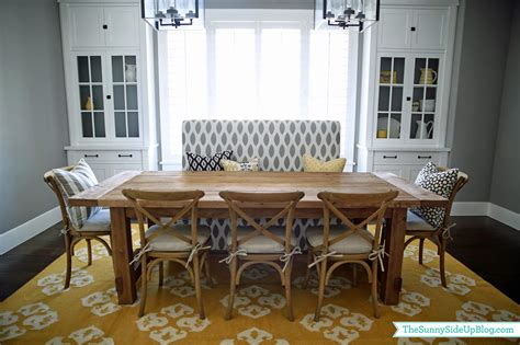 dining room decor update bench chairs pillows