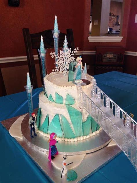 frozen ice castle cake  stairs birthday fun