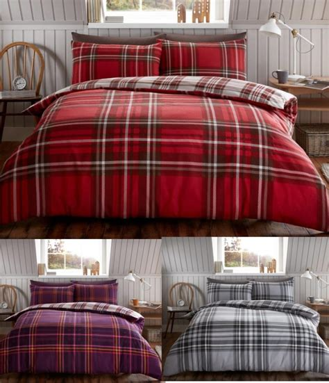 flannel duvet cover tartan check brushed cotton flannelette duvet cover