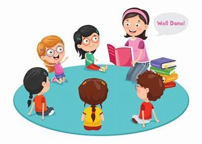Preschool Children Reading Kleuters Class Teacher Cartoon