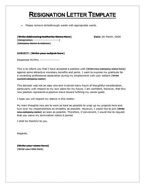 resignation letter template word resignation letter format resignation letter microsoft