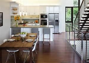 attrayant amenager petit salon avec cuisine ouverte 18 With amenager petit salon avec cuisine ouverte