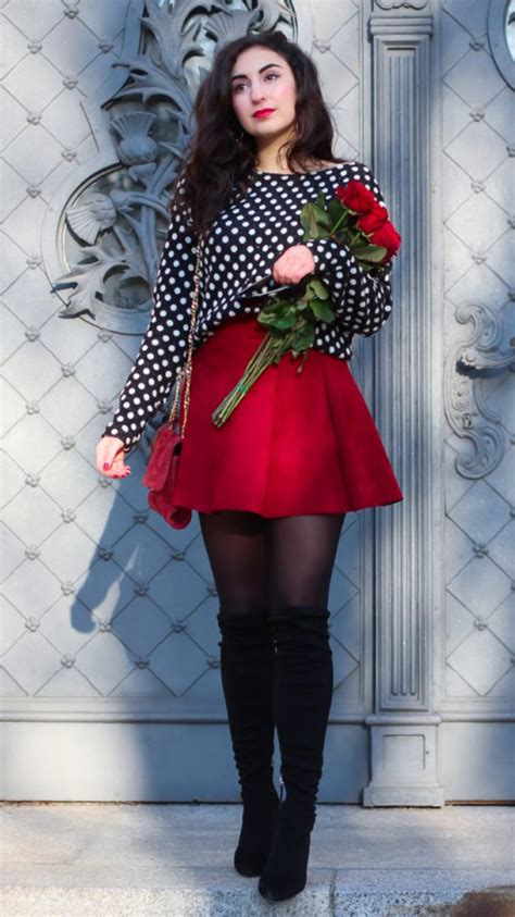 Valentines Day Outfit Red Skater Skirt - Fashion Tights