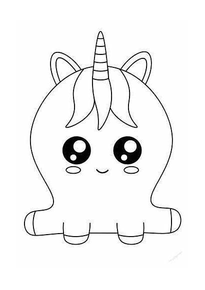 Unicorn Cake Coloring Pages Cartoon Drawing Hand
