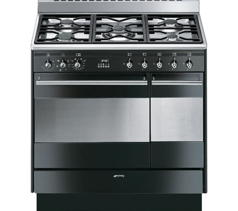 buy smeg concert 90 cm dual fuel range cooker black stainless steel free delivery currys