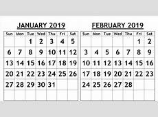 January & February 2019 Printable Calendar Templates