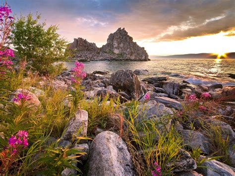 russia lake stones scenery baikal nature