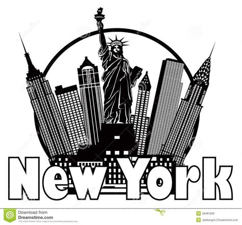 new york city skyline black and white circle vector illustration download from over 37 million