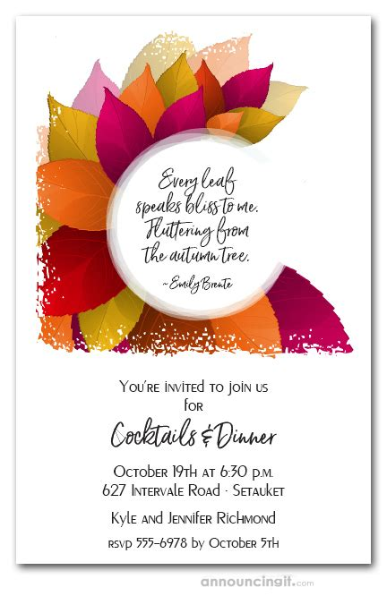 vibrant fall leaves party invitations