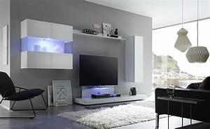 Meuble Tv Led Blanc Laqué : ensemble meuble tv laqu blanc avec clairage led en option design boretto ~ Teatrodelosmanantiales.com Idées de Décoration