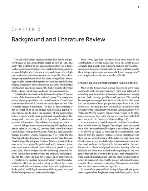 chapter  background  literature review full depth precast concrete bridge deck panel