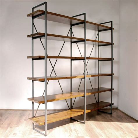 standing l with shelves large industrial vintage rustic free standing shelves