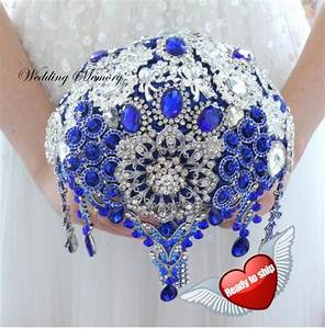 "BROOCH BOUQUET Full Price 7"" Ready Royal Blue And Silver ..."