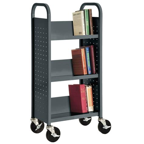 Steel Bookcase by Sandusky Charcoal Mobile Steel Bookcase Sl33017 02 The