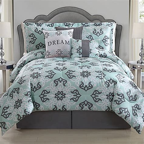 34647 mint and gray bedding comforter set in mint grey www bedbathandbeyond