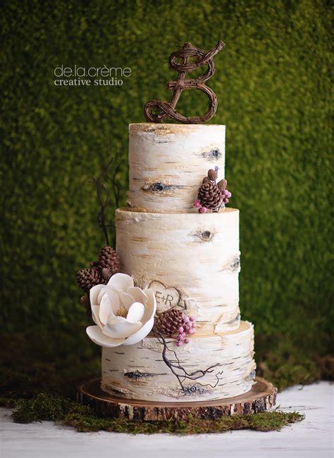 birch tree wedding cake de la crème creative studio