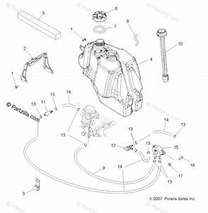Polaris Atv 2008 Oem Parts Diagram For Body  Fuel Tank