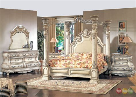 king traditional poster canopy bed  leather  piece