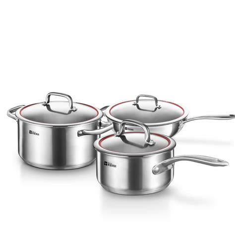 pots cooking kitchen pans steel stainless cookware sets 3pc warm garden