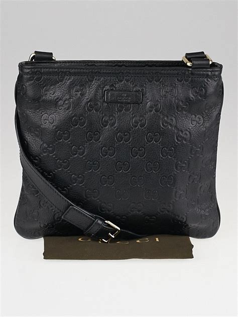 gucci black guccissima leather small messenger bag yoogis closet