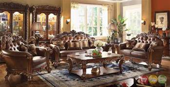 vendome traditional dark wood 3pc formal living room set