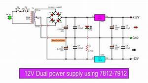 -12v Dual Power Supply Using 7812  7912
