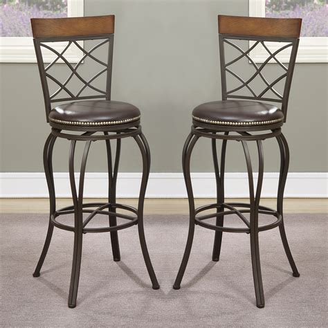 backless counter stool set of 2 swivel barstool bar 29 quot h stools chairs stud trim 1418