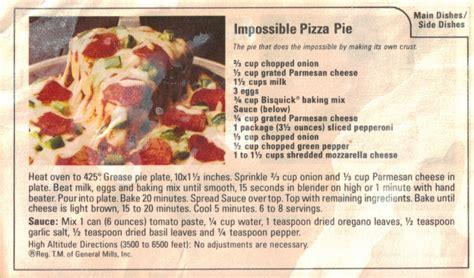 impossible pizza pie recipe clipping recipecuriocom