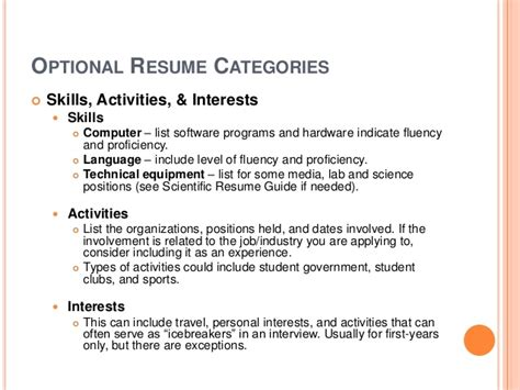 interest and activities for resume interests in a resume