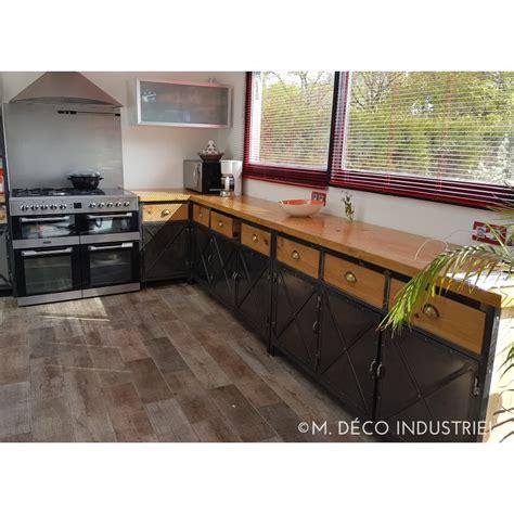 meuble haut bureau cuisine de style industriel acier et bois massif m déco