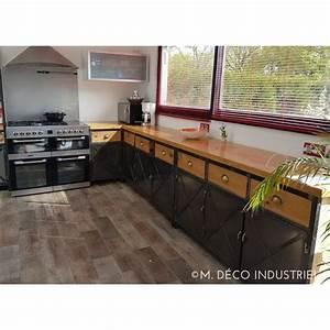cuisine de style industriel acier et bois massif m deco With meuble de cuisine style industriel