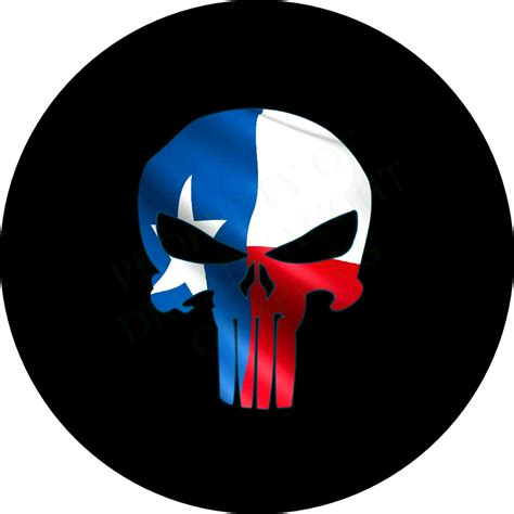 texas flag jeep punisher skull texas flag spare tire cover