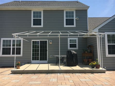stationary canopy frame patio white powder coated galvanized steel kreiders canvas