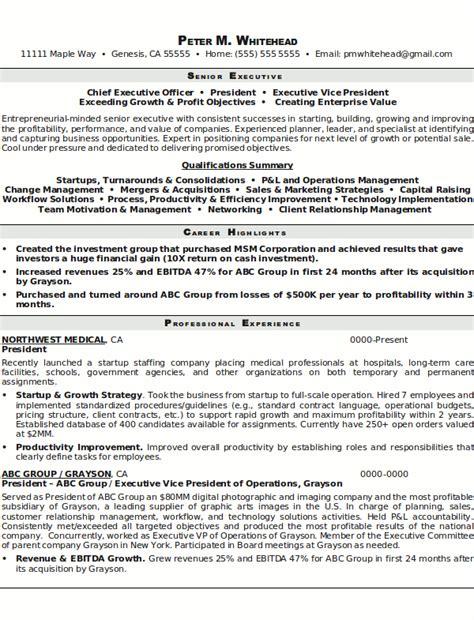 Resume Template For Senior Management by Resume Sle 8 Senior Executive Resume Career Resumes