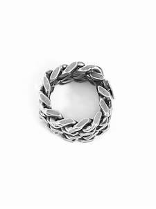 Saint Laurent Silver Chain Ring In Metallic For Men