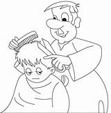 Barber Coloring Pages Colouring Clipart Hair Cutting Cartoon Professions Getcolorings Printable Webstockreview sketch template