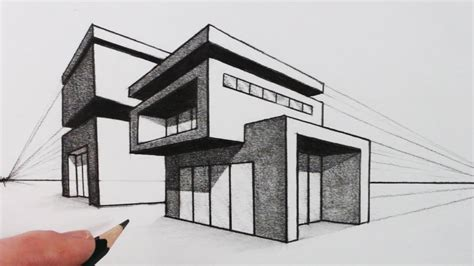 draw  house   point perspective modern house