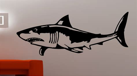 huge shark fish wall art quote sticker vinyl kids bedroom ebay
