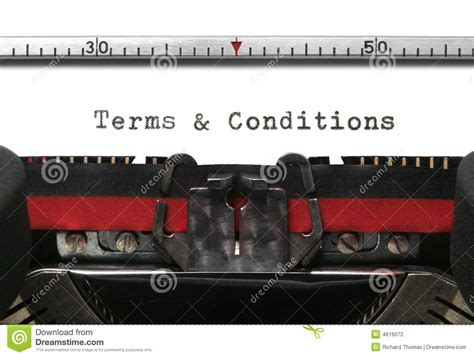 Typewriter Terms & Conditions Stock Photography Image