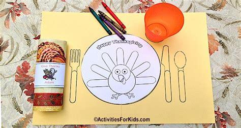 printable thanksgiving placemat  kids