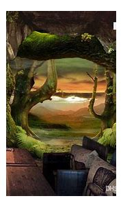 Custom Modern Wallpaper Cave Stone Virgin Forest 3d ...