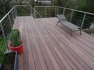 Garde corps bois et inox pour terrasse bois suspendue for Garde corps terrasse inox