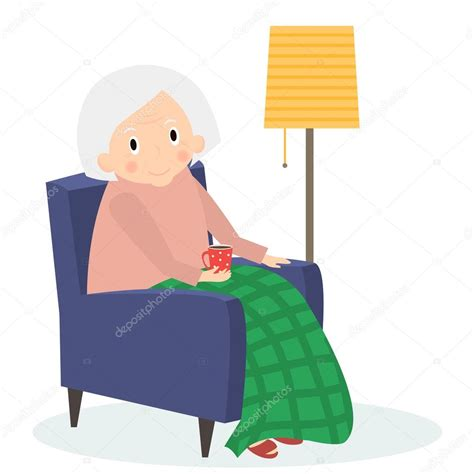 chaise assis grandmother sitting in armchair leisure