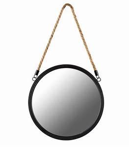Miroir Rond Corde : miroir mural rond suspendu noir ~ Teatrodelosmanantiales.com Idées de Décoration