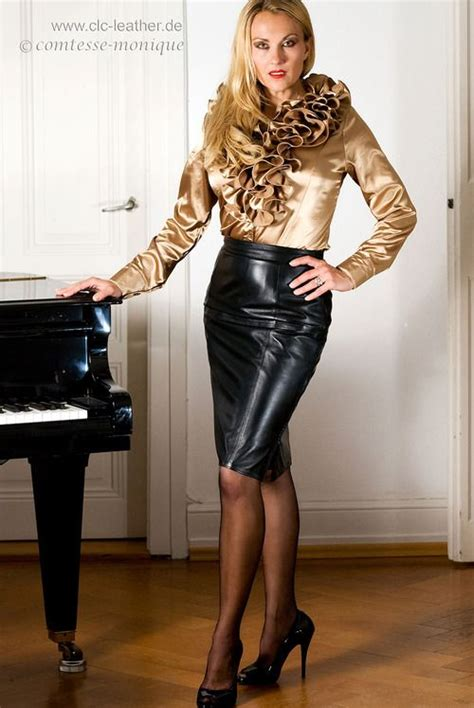 Leather Skirt Satin Blouse Leather And Satin Pinterest
