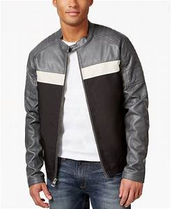 Guess Men's Faux-leather Full-zip Motorcycle Jacket in ...