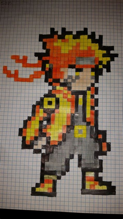 naruto pixel art dibujos en cuadricula arte pixel